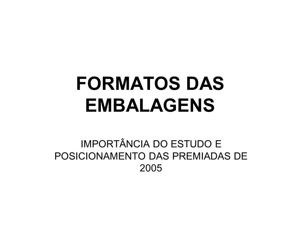 FORMATOS DAS EMBALAGENS IMPORTÂNCIA DO ESTUDO E POSICIONAMENTO DAS PREMIADAS DE 2005