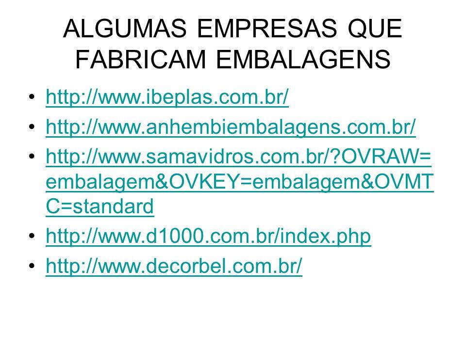 ALGUMAS EMPRESAS QUE FABRICAM EMBALAGENS http://www.ibeplas.com.br/ http://www.anhembiembalagens.com.br/ http://www.samavidros.com.br/?OVRAW= embalage