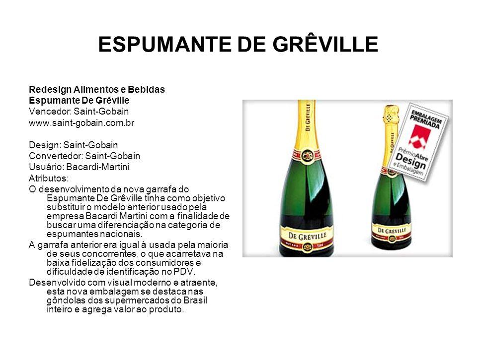 ESPUMANTE DE GRÊVILLE Redesign Alimentos e Bebidas Espumante De Grêville Vencedor: Saint-Gobain www.saint-gobain.com.br Design: Saint-Gobain Converted