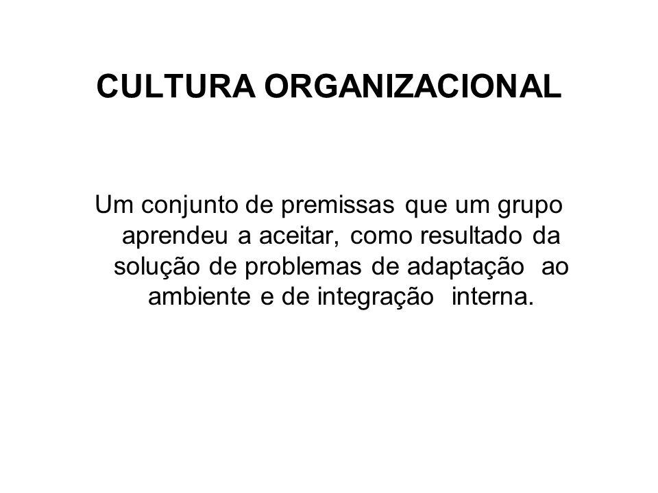 CULTURA ORGANIZACIONAL Um conjunto de premissas que um grupo aprendeu a aceitar, como resultado da solução de problemas de adaptação ao ambiente e de integração interna.
