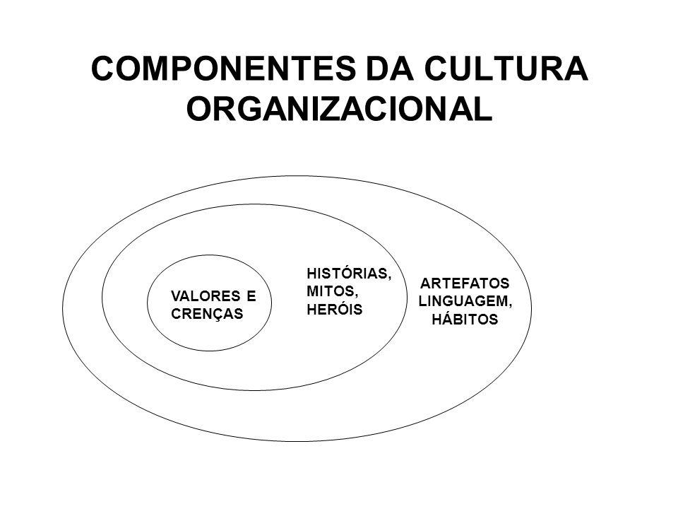 COMPONENTES DA CULTURA ORGANIZACIONAL VALORES E CRENÇAS HISTÓRIAS, MITOS, HERÓIS ARTEFATOS LINGUAGEM, HÁBITOS