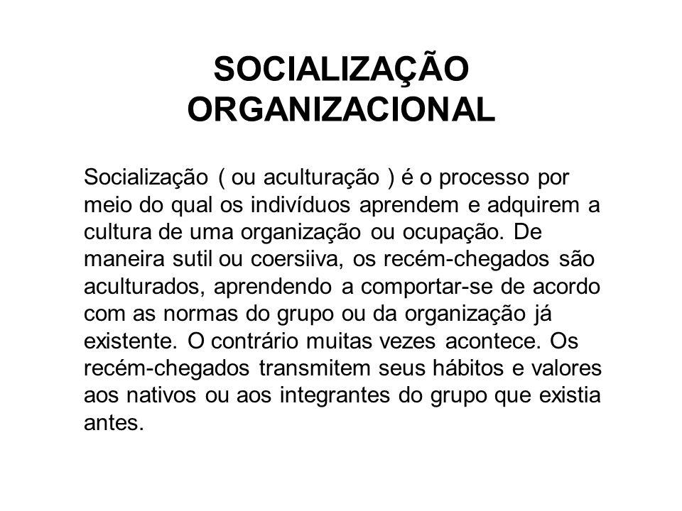 SOCIALIZAÇÃO ORGANIZACIONAL Socialização ( ou aculturação ) é o processo por meio do qual os indivíduos aprendem e adquirem a cultura de uma organização ou ocupação.