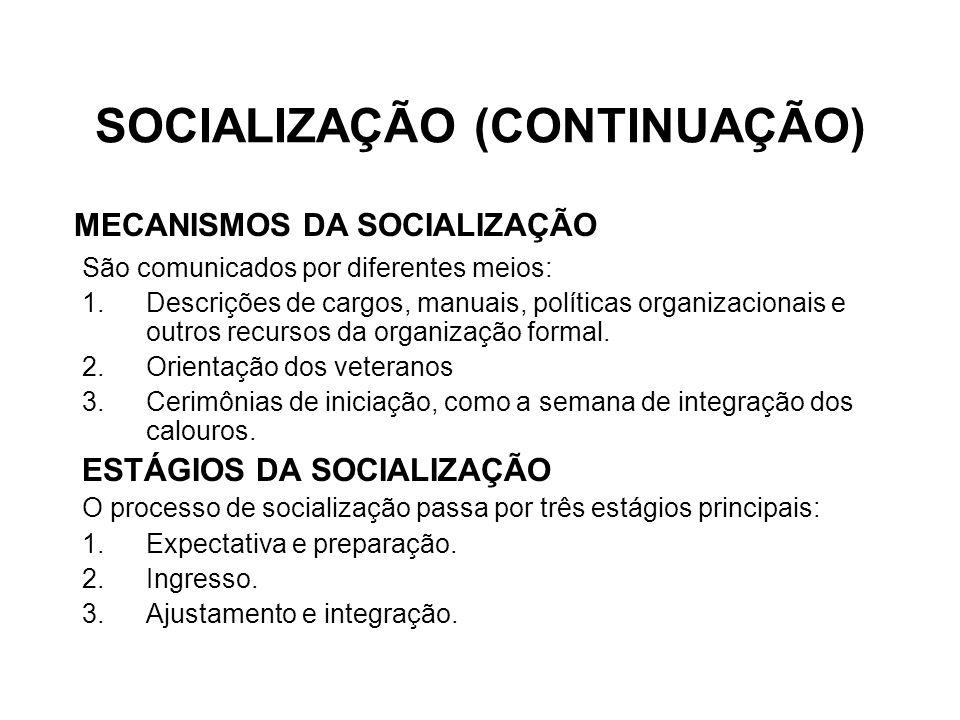 SOCIALIZAÇÃO (CONTINUAÇÃO) São comunicados por diferentes meios: 1.Descrições de cargos, manuais, políticas organizacionais e outros recursos da organização formal.