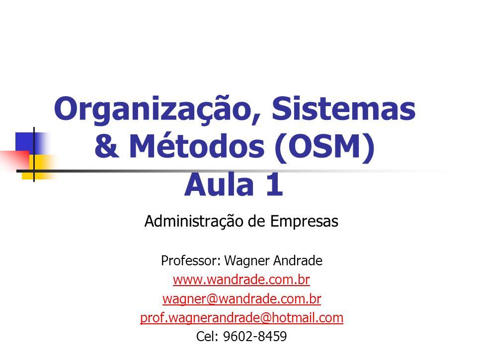 Organização, Sistemas & Métodos (OSM) Aula 1 Administração de Empresas Professor: Wagner Andrade www.wandrade.com.br wagner@wandrade.com.br prof.wagnerandrade@hotmail.com Cel: 9602-8459
