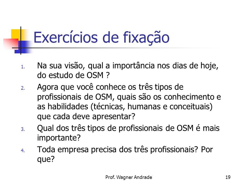 Prof.Wagner Andrade19 Exercícios de fixação 1.