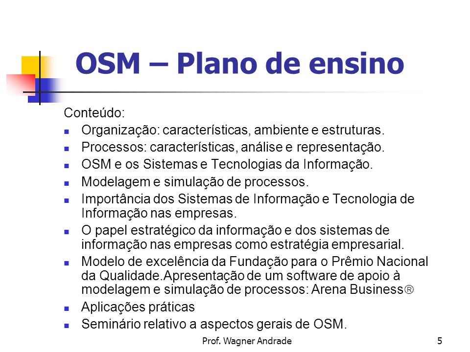 Prof. Wagner Andrade16 OSM – Profissionais de OSM