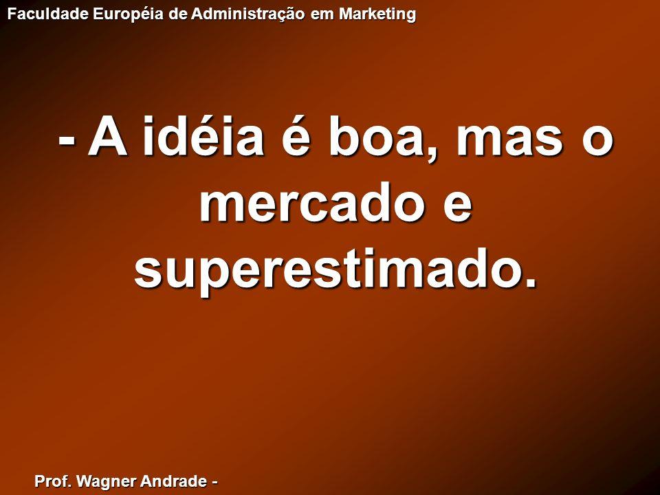 Prof. Wagner Andrade - Faculdade Européia de Administração em Marketing - A idéia é boa, mas o mercado e superestimado.