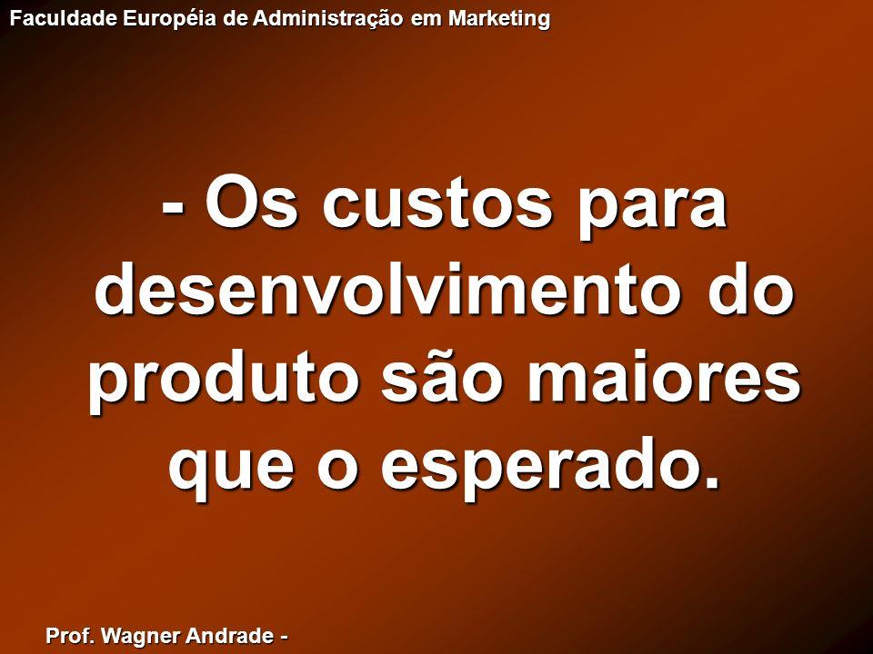 Prof. Wagner Andrade - Faculdade Européia de Administração em Marketing - Os custos para desenvolvimento do produto são maiores que o esperado.