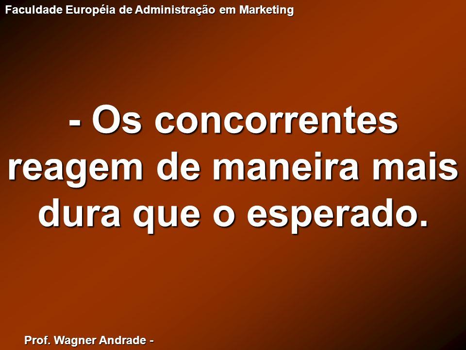 Prof. Wagner Andrade - Faculdade Européia de Administração em Marketing - Os concorrentes reagem de maneira mais dura que o esperado.