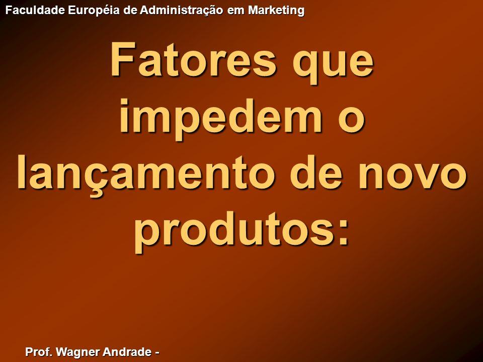 Prof. Wagner Andrade - Faculdade Européia de Administração em Marketing Fatores que impedem o lançamento de novo produtos: