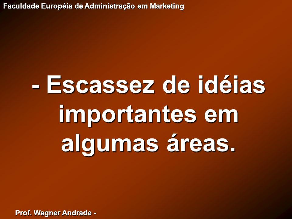 Prof. Wagner Andrade - Faculdade Européia de Administração em Marketing - Escassez de idéias importantes em algumas áreas.