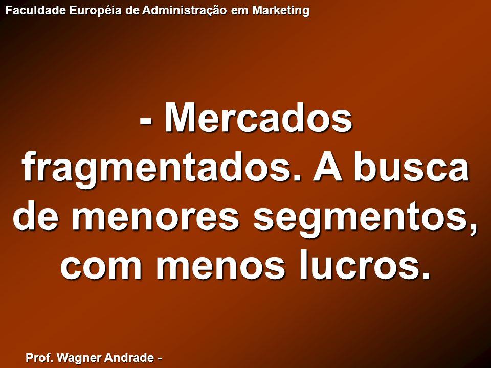 Prof. Wagner Andrade - Faculdade Européia de Administração em Marketing - Mercados fragmentados. A busca de menores segmentos, com menos lucros.