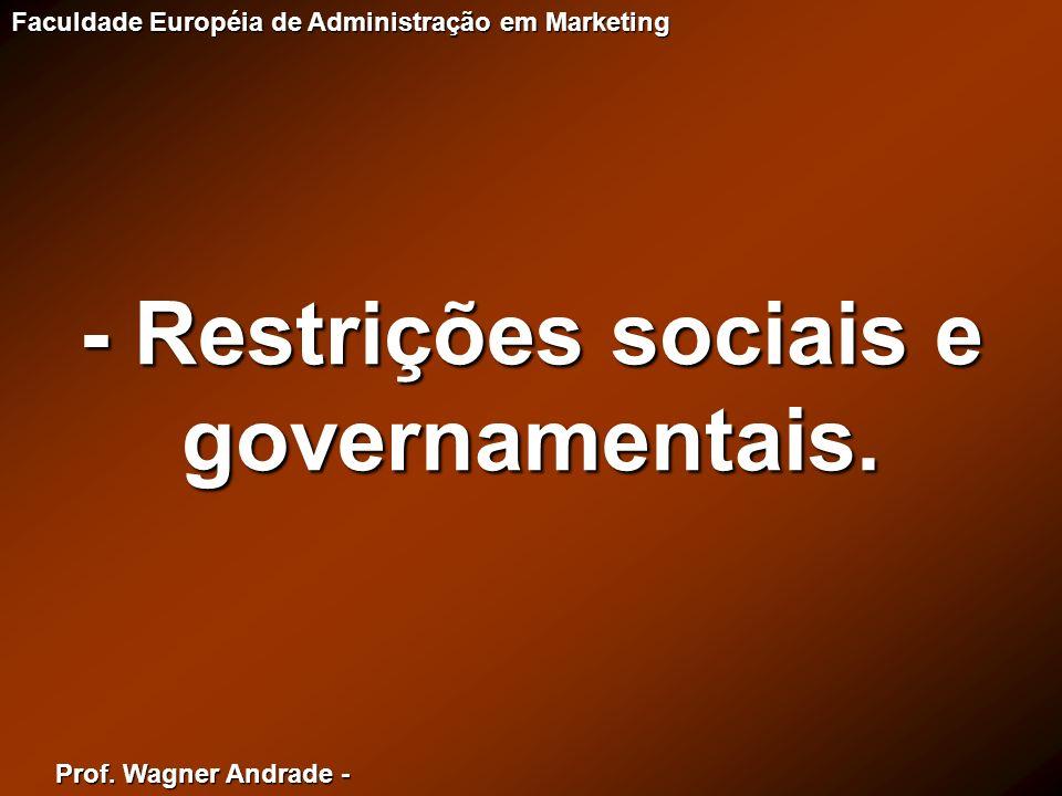 Prof. Wagner Andrade - Faculdade Européia de Administração em Marketing - Restrições sociais e governamentais.