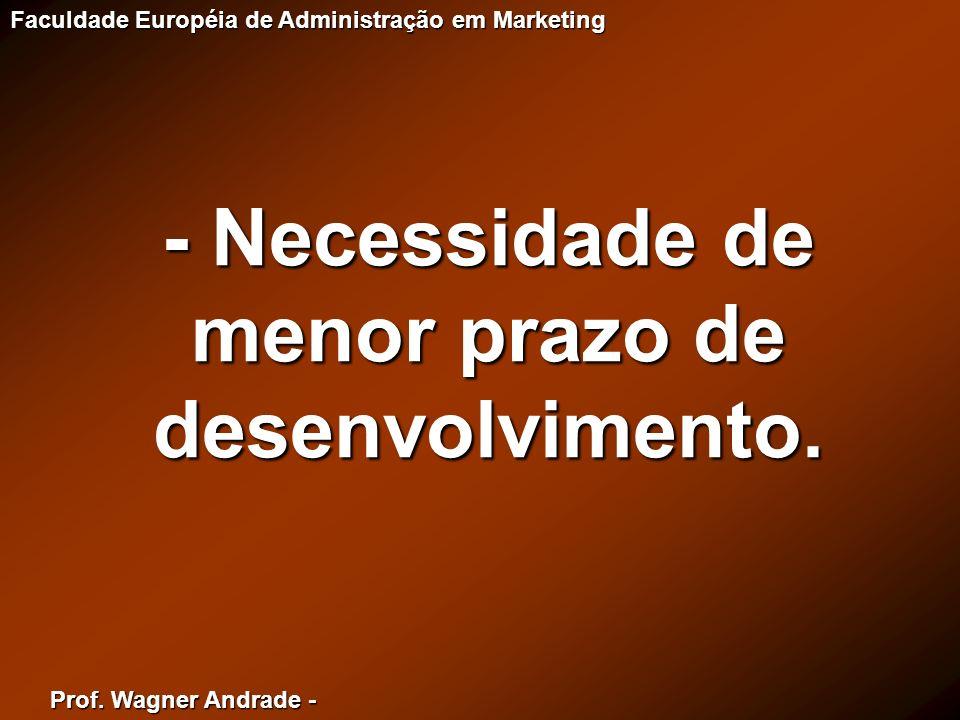 Prof. Wagner Andrade - Faculdade Européia de Administração em Marketing - Necessidade de menor prazo de desenvolvimento.