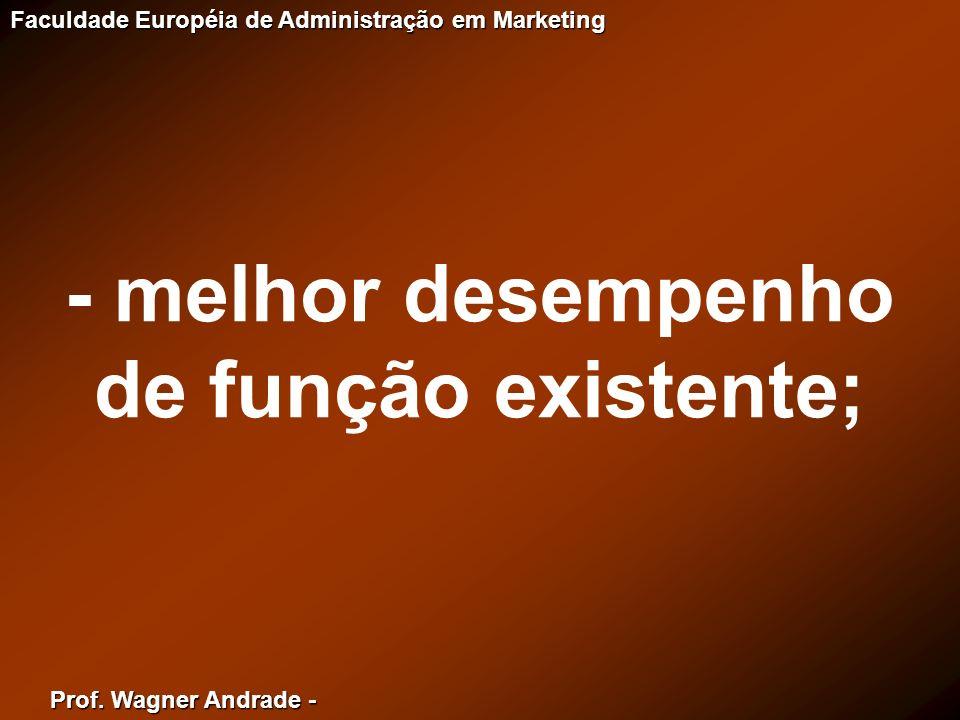 Prof. Wagner Andrade - Faculdade Européia de Administração em Marketing - melhor desempenho de função existente;