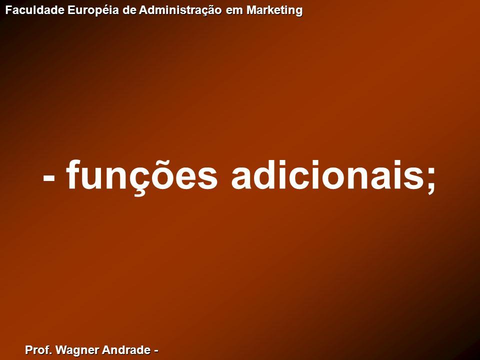 Prof. Wagner Andrade - Faculdade Européia de Administração em Marketing - funções adicionais;