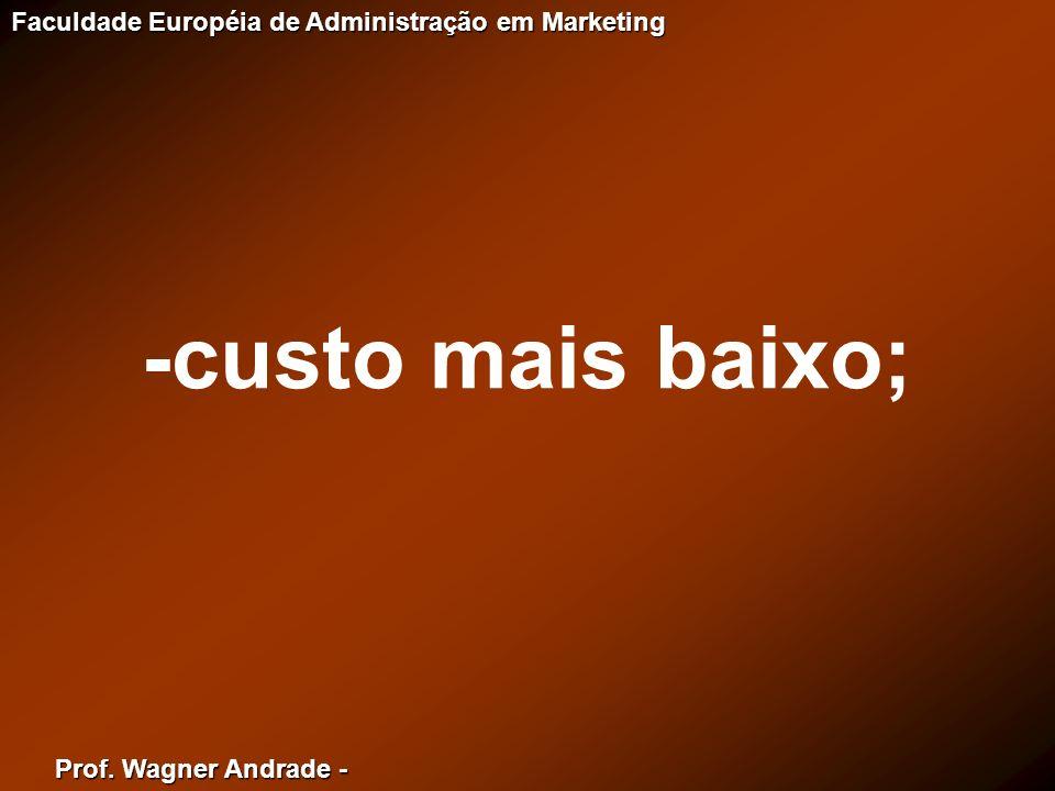 Prof. Wagner Andrade - Faculdade Européia de Administração em Marketing -custo mais baixo;