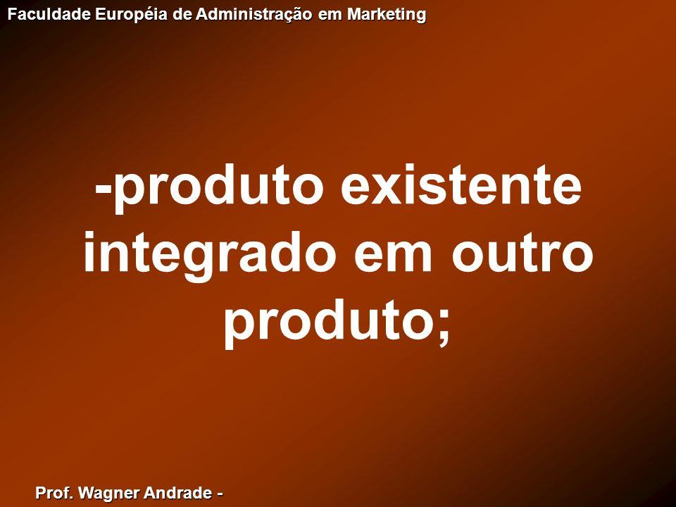 Prof. Wagner Andrade - Faculdade Européia de Administração em Marketing -produto existente integrado em outro produto;