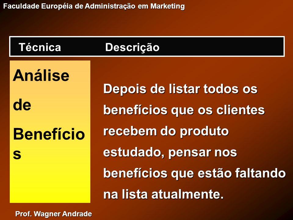 Prof. Wagner Andrade Faculdade Européia de Administração em Marketing Análise de Benefício s Depois de listar todos os benefícios que os clientes rece