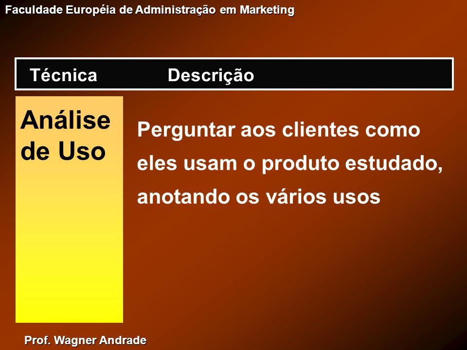 Prof. Wagner Andrade Faculdade Européia de Administração em Marketing Análise de Uso Perguntar aos clientes como eles usam o produto estudado, anotand