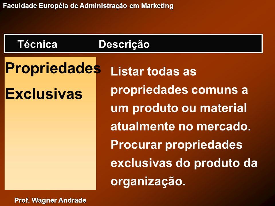 Prof. Wagner Andrade Faculdade Européia de Administração em Marketing Propriedades Exclusivas Listar todas as propriedades comuns a um produto ou mate