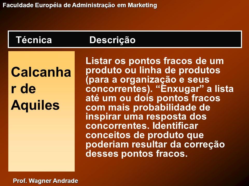 Prof. Wagner Andrade Faculdade Européia de Administração em Marketing Calcanha r de Aquiles Listar os pontos fracos de um produto ou linha de produtos