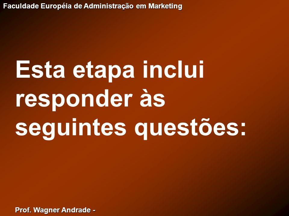 Prof. Wagner Andrade - Faculdade Européia de Administração em Marketing Esta etapa inclui responder às seguintes questões: