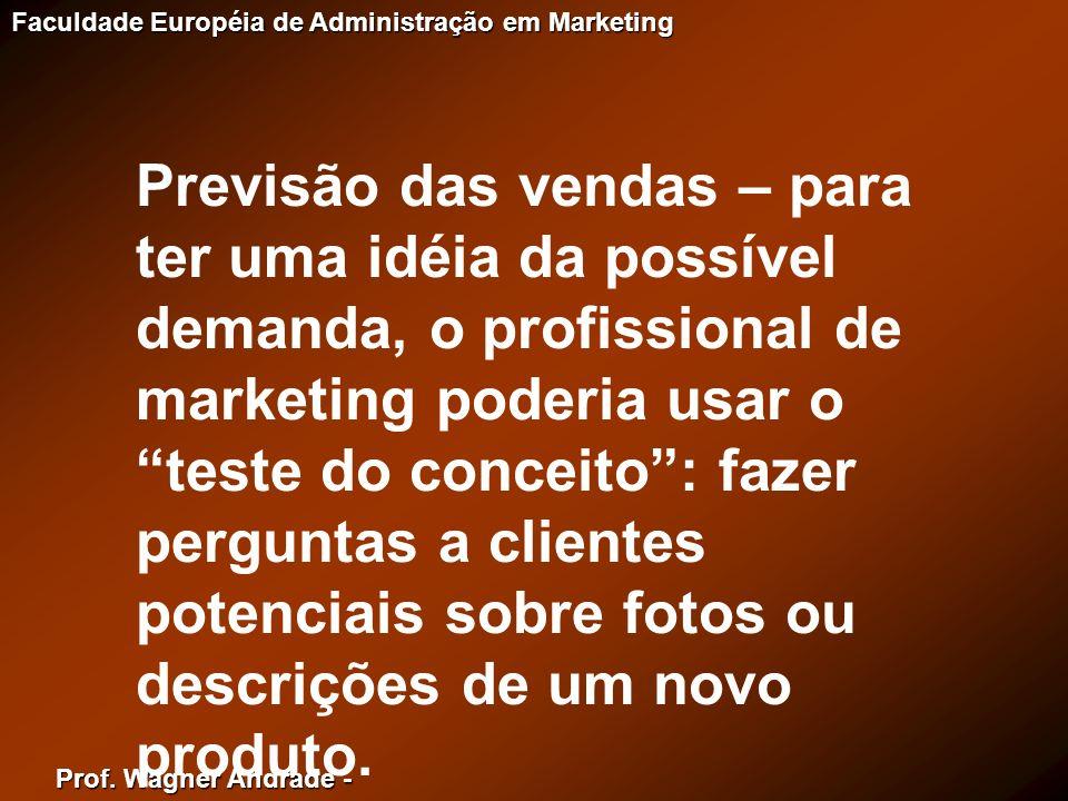 Prof. Wagner Andrade - Faculdade Européia de Administração em Marketing Previsão das vendas – para ter uma idéia da possível demanda, o profissional d