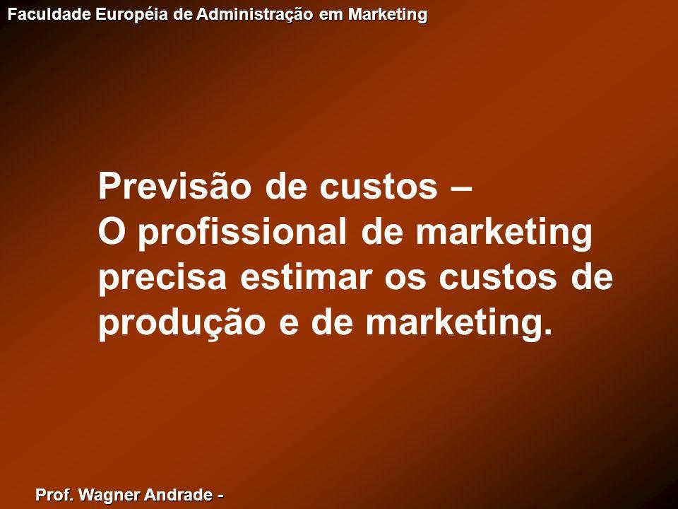 Prof. Wagner Andrade - Faculdade Européia de Administração em Marketing Previsão de custos – O profissional de marketing precisa estimar os custos de