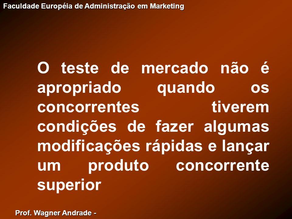 Prof. Wagner Andrade - Faculdade Européia de Administração em Marketing O teste de mercado não é apropriado quando os concorrentes tiverem condições d