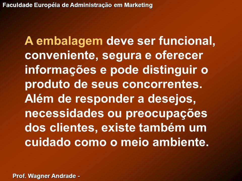 Prof. Wagner Andrade - Faculdade Européia de Administração em Marketing A embalagem deve ser funcional, conveniente, segura e oferecer informações e p