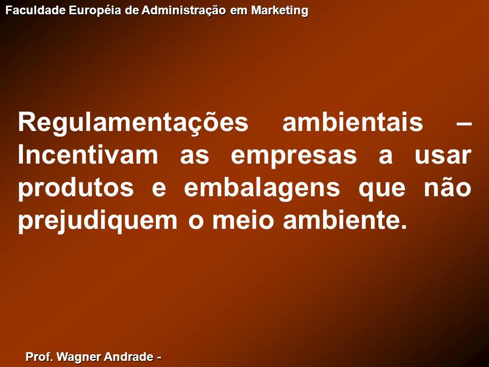 Prof. Wagner Andrade - Faculdade Européia de Administração em Marketing Regulamentações ambientais – Incentivam as empresas a usar produtos e embalage