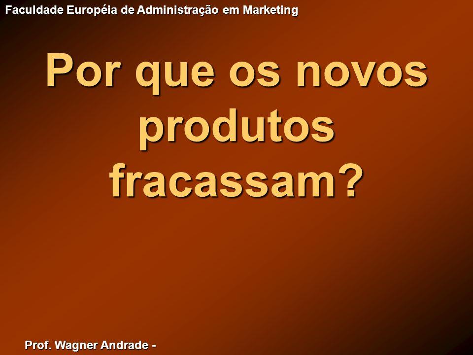 Prof. Wagner Andrade - Faculdade Européia de Administração em Marketing Por que os novos produtos fracassam?