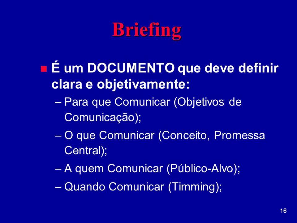 16 BriefingBriefing n É um DOCUMENTO que deve definir clara e objetivamente: –Para que Comunicar (Objetivos de Comunicação); –O que Comunicar (Conceito, Promessa Central); –A quem Comunicar (Público-Alvo); –Quando Comunicar (Timming);