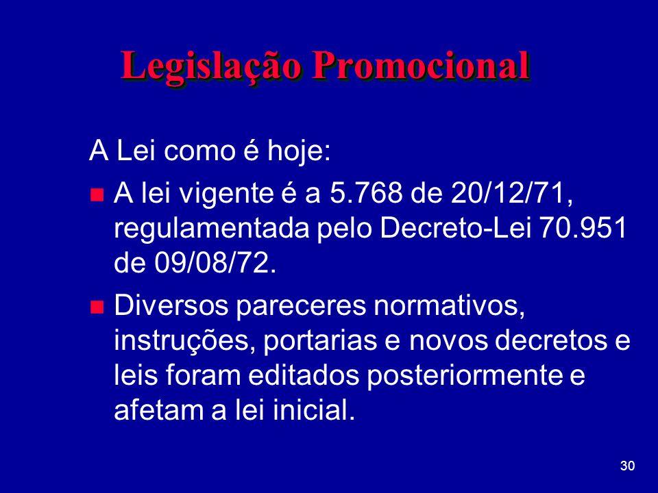 30 Legislação Promocional A Lei como é hoje: n A lei vigente é a 5.768 de 20/12/71, regulamentada pelo Decreto-Lei 70.951 de 09/08/72.