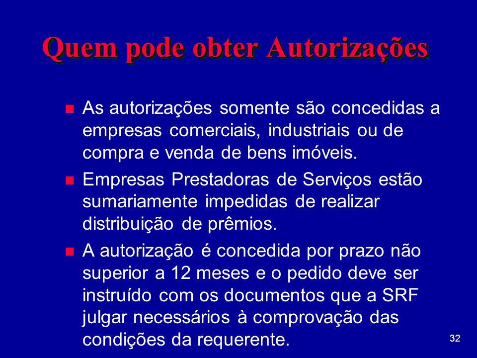 32 Quem pode obter Autorizações n As autorizações somente são concedidas a empresas comerciais, industriais ou de compra e venda de bens imóveis.