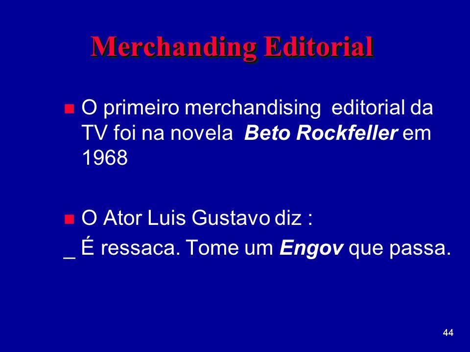 44 Merchanding Editorial n O primeiro merchandising editorial da TV foi na novela Beto Rockfeller em 1968 n O Ator Luis Gustavo diz : _ É ressaca.