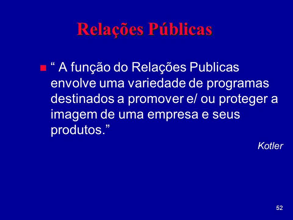 52 Relações Públicas n A função do Relações Publicas envolve uma variedade de programas destinados a promover e/ ou proteger a imagem de uma empresa e seus produtos.