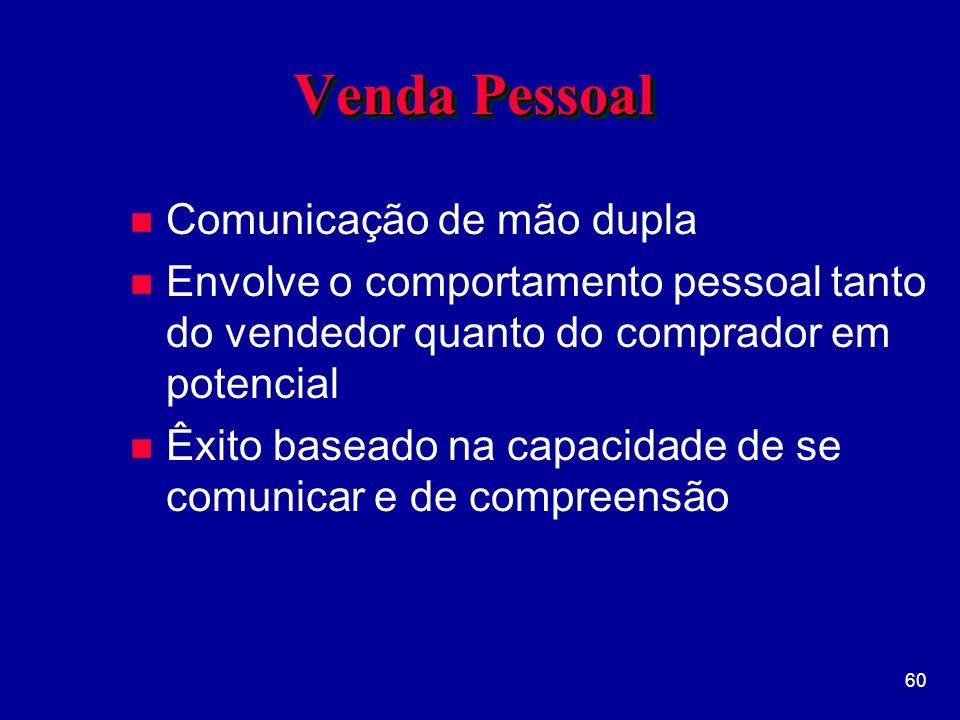 60 Venda Pessoal n Comunicação de mão dupla n Envolve o comportamento pessoal tanto do vendedor quanto do comprador em potencial n Êxito baseado na capacidade de se comunicar e de compreensão