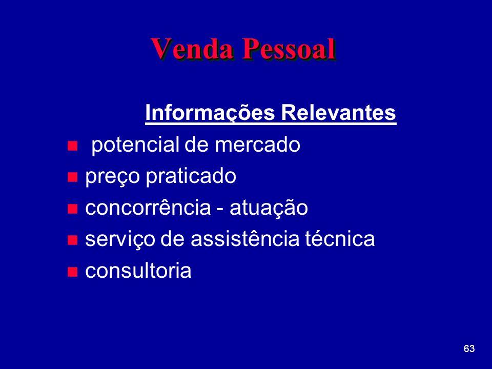 63 Venda Pessoal Informações Relevantes n potencial de mercado n preço praticado n concorrência - atuação n serviço de assistência técnica n consultoria