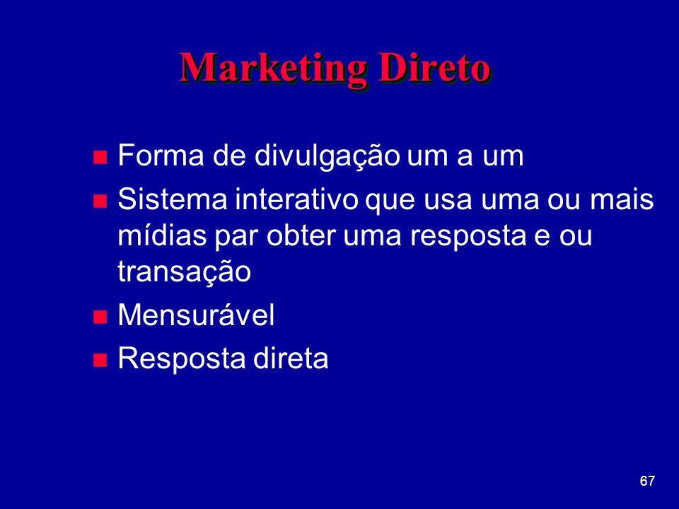 67 Marketing Direto n Forma de divulgação um a um n Sistema interativo que usa uma ou mais mídias par obter uma resposta e ou transação n Mensurável n Resposta direta