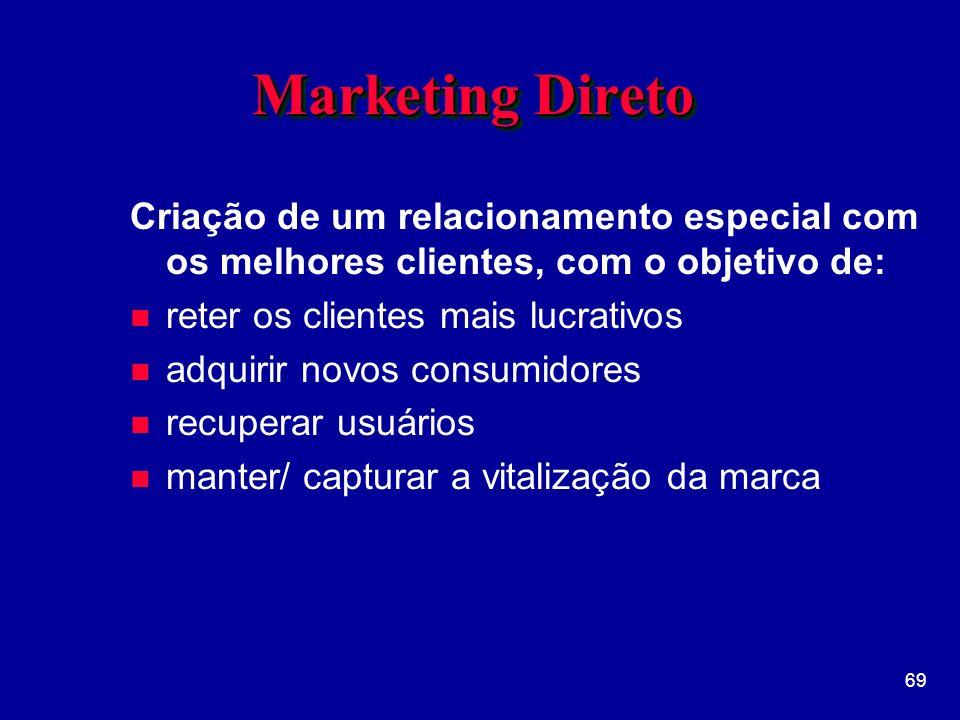 69 Marketing Direto Criação de um relacionamento especial com os melhores clientes, com o objetivo de: n reter os clientes mais lucrativos n adquirir novos consumidores n recuperar usuários n manter/ capturar a vitalização da marca