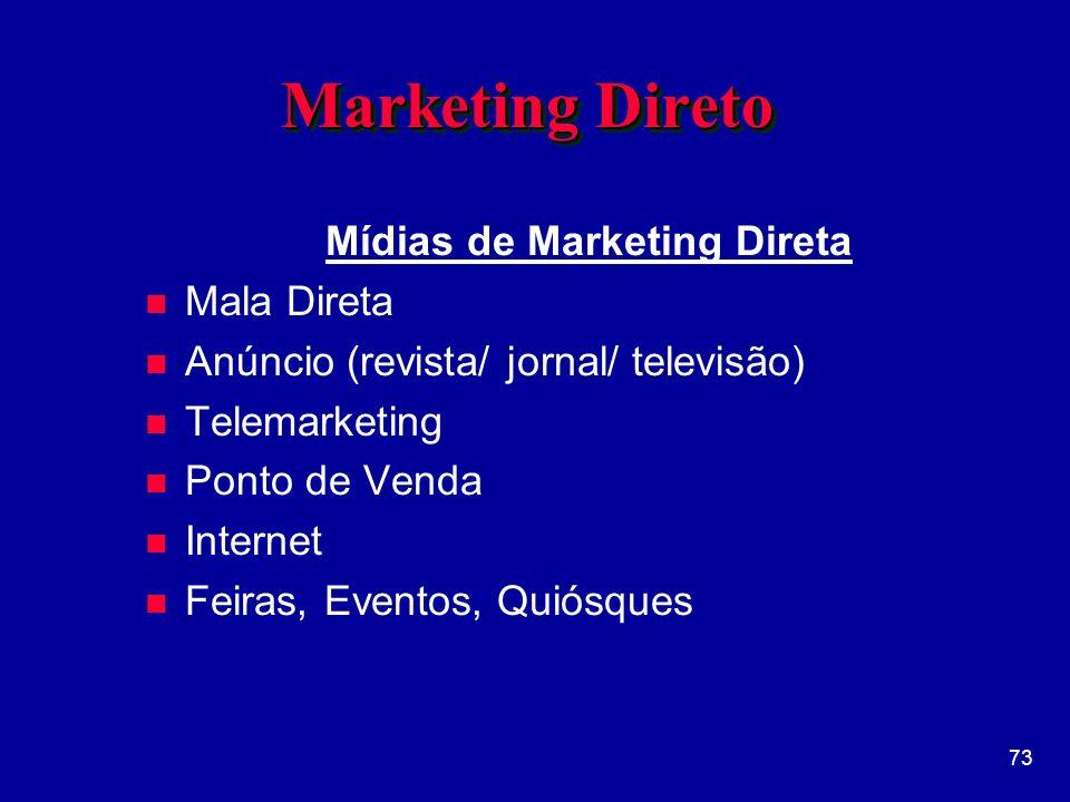 73 Marketing Direto Mídias de Marketing Direta n Mala Direta n Anúncio (revista/ jornal/ televisão) n Telemarketing n Ponto de Venda n Internet n Feiras, Eventos, Quiósques