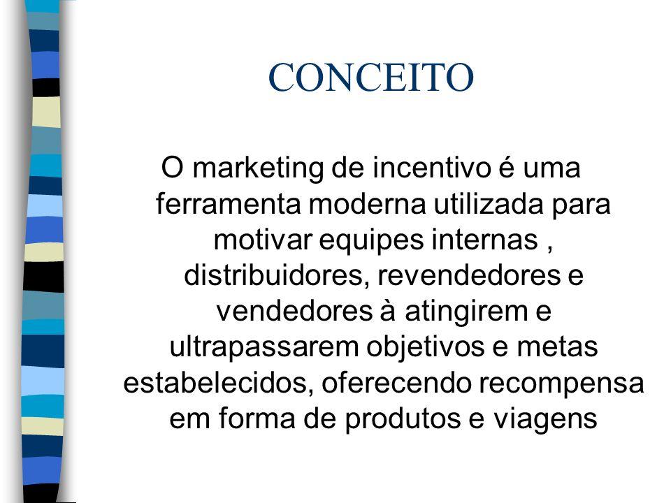 CONCEITO O marketing de incentivo é uma ferramenta moderna utilizada para motivar equipes internas, distribuidores, revendedores e vendedores à atingirem e ultrapassarem objetivos e metas estabelecidos, oferecendo recompensa em forma de produtos e viagens