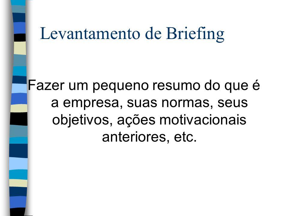 Levantamento de Briefing Fazer um pequeno resumo do que é a empresa, suas normas, seus objetivos, ações motivacionais anteriores, etc.