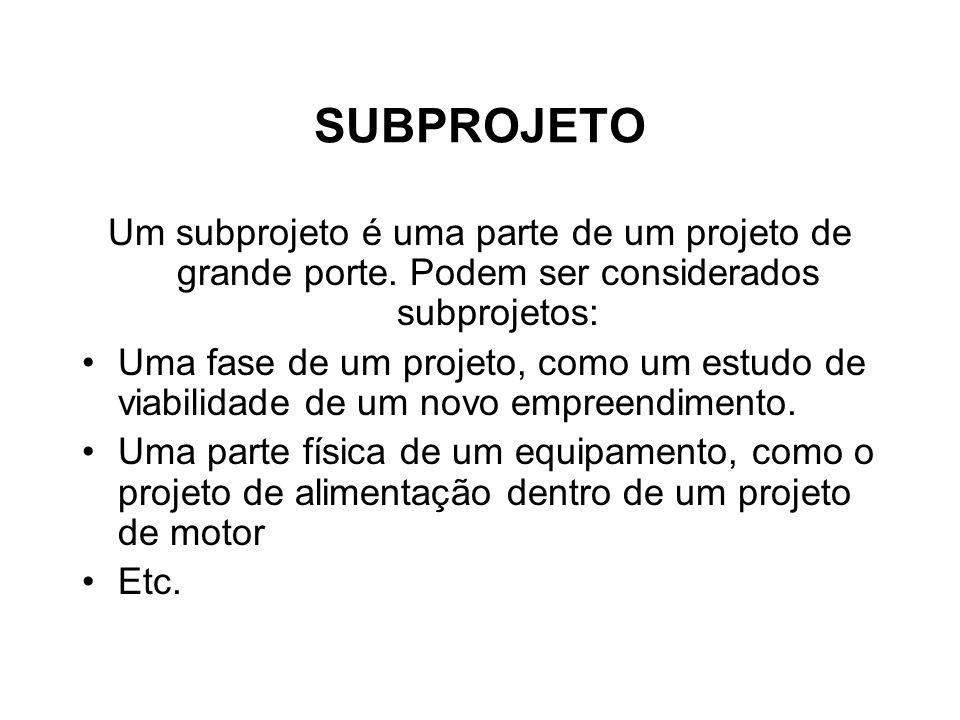 SUBPROJETO Um subprojeto é uma parte de um projeto de grande porte. Podem ser considerados subprojetos: Uma fase de um projeto, como um estudo de viab