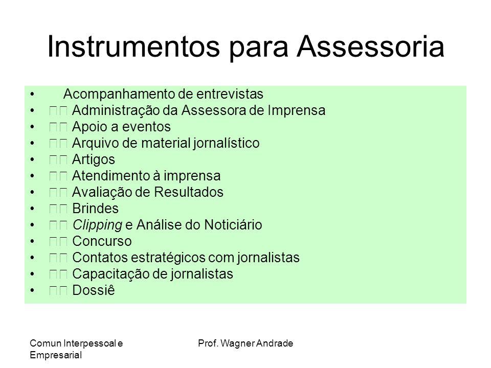 Comun Interpessoal e Empresarial Prof. Wagner Andrade Assessores de Imprensa Tudo tem de estar baseado em estratégia Relação, sintonia, conhecimento,