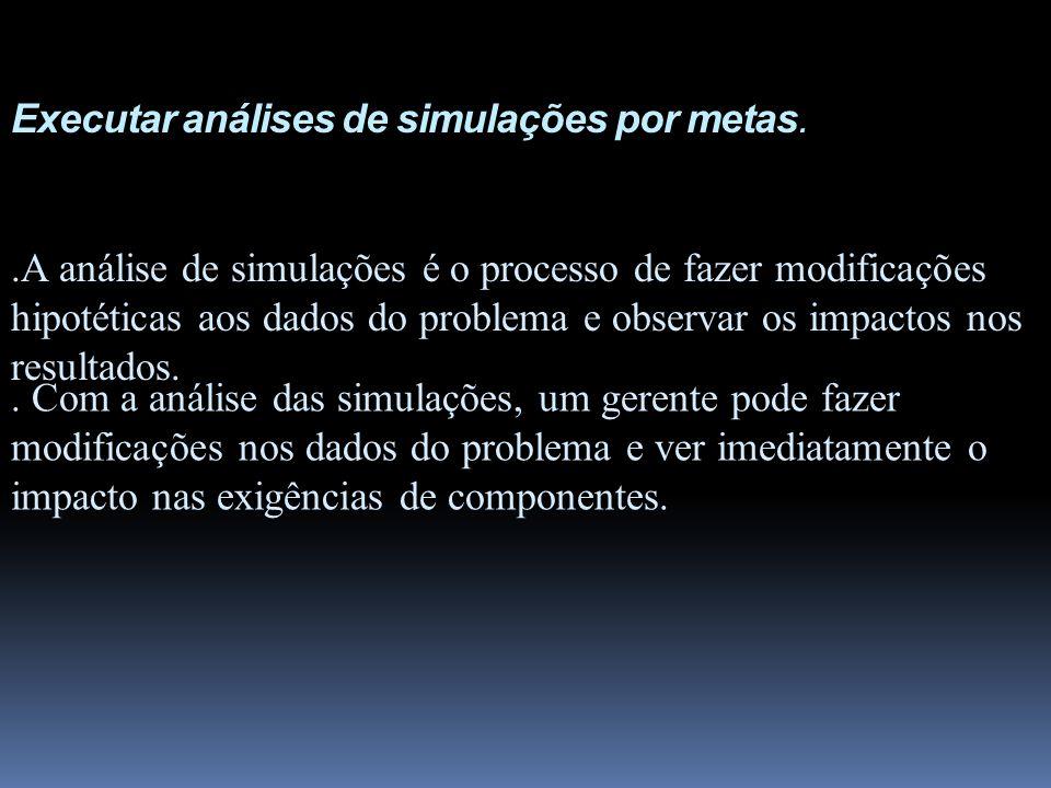 Executar análises de simulações por metas.. Com a análise das simulações, um gerente pode fazer modificações nos dados do problema e ver imediatamente