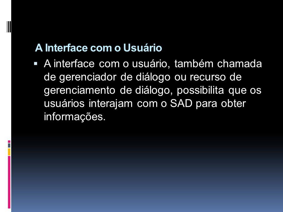 A Interface com o Usuário A interface com o usuário, também chamada de gerenciador de diálogo ou recurso de gerenciamento de diálogo, possibilita que