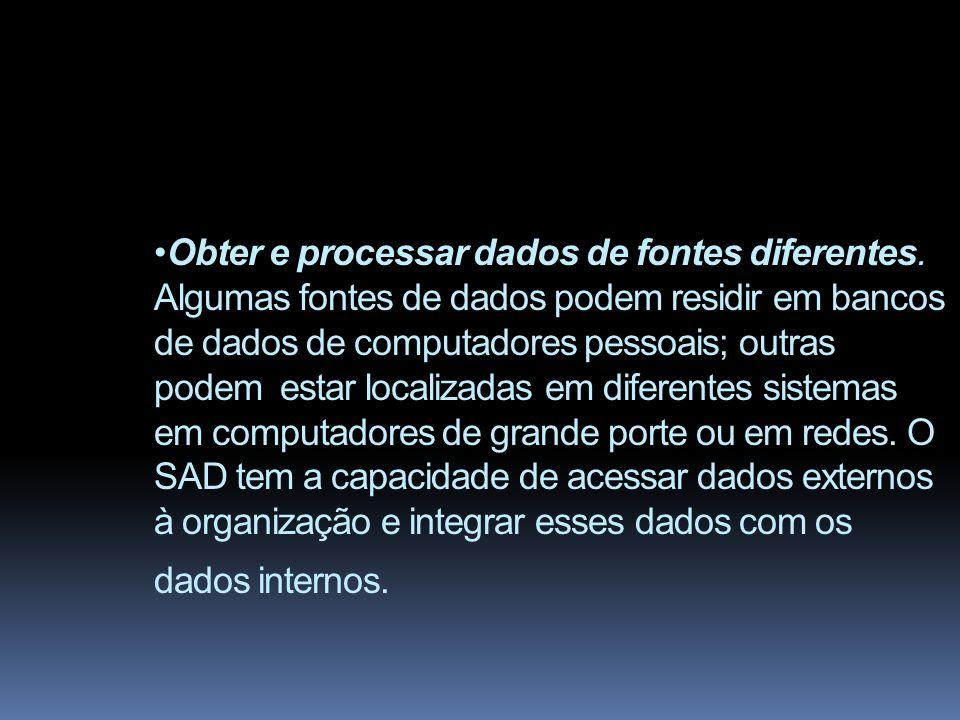 COMPONENTES DE UM SISTEMA DE SUPORTE À DECISÃO O cerne de um SAD é composto por um banco de dados, um banco de modelos e um gerador de SAD.